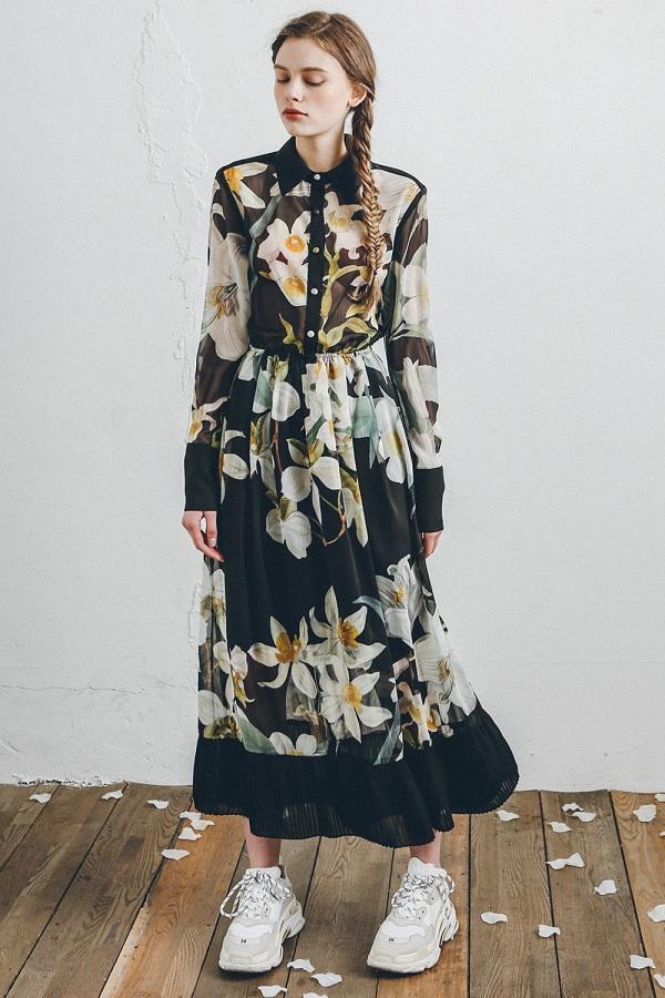 오키드 나르시스 쉬폰 드레스1